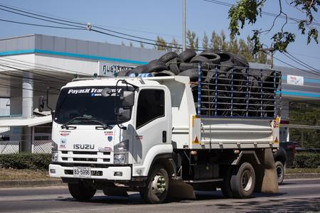 Chiangmai, Thailand - February 4 2019: Private Isuzu Dump Truck. On road no.1001 8 km from Chiangmai Business Area. Editorial