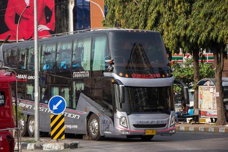 Chiangmai, Thailand - February 16 2019: Private Travel Bus . Photo at Chiangmai Bus Station.