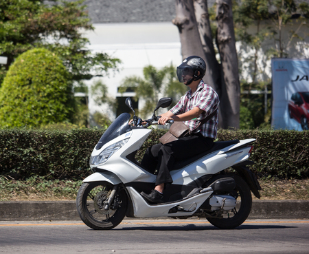 Chiangmai, Thailand - February 4 2019: Private Honda Motorcycle, PCX 150. On road no.1001, 8 km from Chiangmai Business Area. Editorial