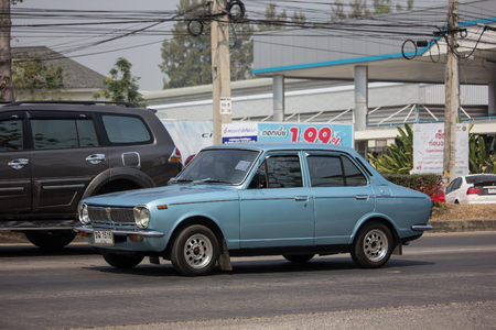 Chiangmai, Thailand - February 26 2019: Private Old car, Toyota Corolla. Photo at road no 121 about 8 km from downtown Chiangmai, thailand.
