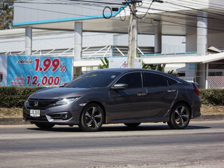 Chiangmai, Thailand - February 7 2019: Private Sedan Car from Honda Automobil,Tenth generation Honda Civic. On road no.1001 8 km from Chiangmai Business Area.