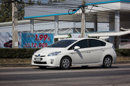 Chiangmai, Thailand - February 7 2019: Private car Toyota Prius Hybrid System. On road no.1001 8 km from Chiangmai Business Area. Editorial