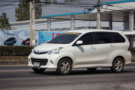 Chiangmai, Thailand - February 11 2019: Private Toyota Avanza car. Mini Suv Car for Urbun User. Photo at road no.121 about 8 km from downtown Chiangmai thailand.