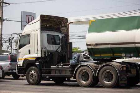 Chiangmai, Thailand - February 11 2019: Molasses Tank Truck of Thai Molaz Company. On Truck on road no.1001, 8 km from Chiangmai city.