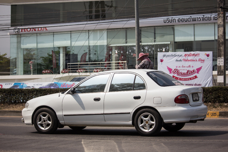 Chiangmai, Thailand - February 18 2019: Private car, Hyundai Elentra. Photo at road no 121 about 8 km from downtown Chiangmai, thailand.