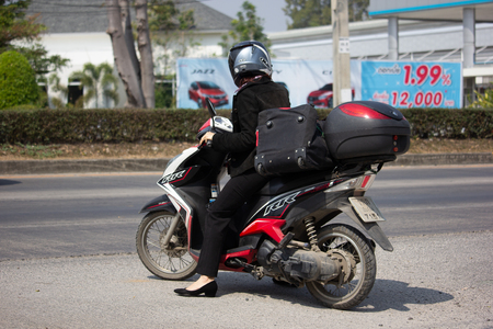 Chiangmai, Thailand - February 18 2019: Private Motorcycle, YAMAHA MIO 125I MX. Photo at road no.121 about 8 km from downtown Chiangmai, thailand.