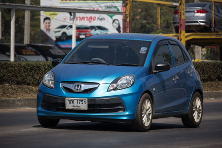 Chiangmai, Thailand - February 25 2019: Private Honda Brio, Eco City car. On road no.1001, 8 km from Chiangmai city. Editorial