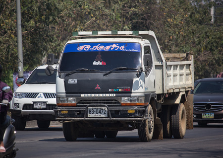 Chiangmai, Thailand - February 25 2019:  Private Mitsubishi Fuso  Dump Truck.  Photo at road no.121 about 8 km from downtown Chiangmai, thailand. 에디토리얼