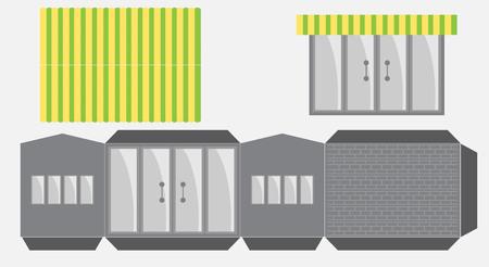 Restaurant- oder Hauspapiermodell, ausschneiden und kleben