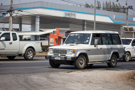 Chiangmai, Thailand - February 26 2019: Private Mitsubishi Pajero Suv Car. On road no.1001 8 km from Chiangmai city. Redactioneel