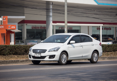 Chiangmai, Thailand - February 26 2019: Private Eco car, Suzuki Ciaz. Photo at road no 121 about 8 km from downtown Chiangmai, thailand. Editorial