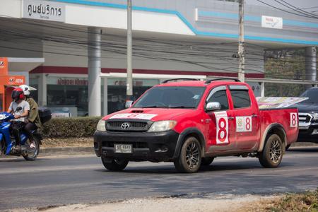 Chiangmai, Thailand - February 26 2019: Private Toyota Hilux Vigo  Pickup Truck.  On road no.1001 8 km from Chiangmai city. Editorial