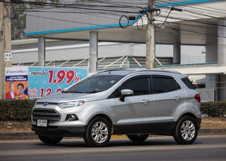 Chiangmai, Thailand - February 26 2019: Private car Ford Ecosport Suv car for Urban User. On road no.1001 8 km from Chiangmai Business Area. Editorial