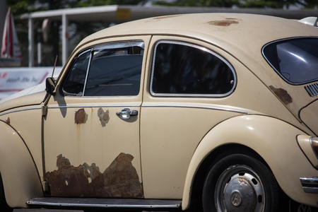 Chiangmai, Thailand - March 1 2019: Vintage Private Car, Volkswagen beetle. Photo at road no.1001 about 8 km from downtown Chiangmai, thailand. Editorial