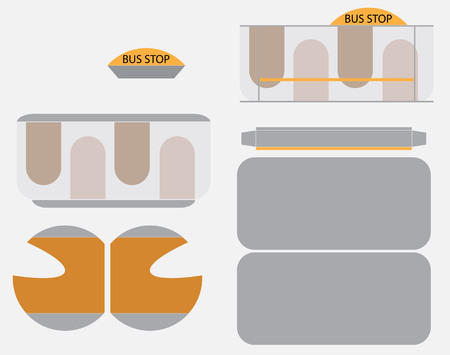 Bus Stop Paper Model Vector cut and glue