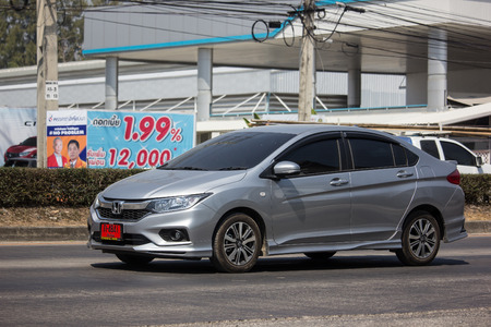Chiangmai, Thailand - March 1 2019: Private  Honda City Compact car. Produced by the Japanese manufacturer Honda. Photo at road no.121 about 8 km from downtown Chiangmai, thailand.
