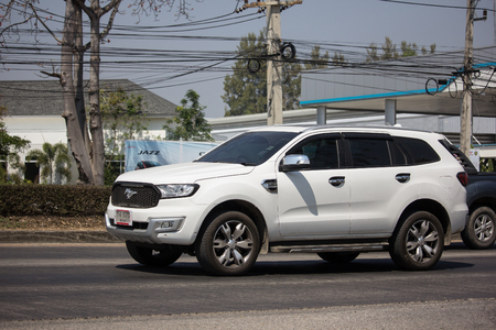 Chiangmai, Thailand - March 1 2019: Private Suv car Ford Everest. On road no.1001 8 km from Chiangmai Business Area.