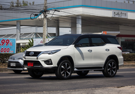 Chiangmai, Thailand - March 1 2019: Private  Toyota Fortuner Suv Car. On road no.1001 8 km from Chiangmai city. Editorial