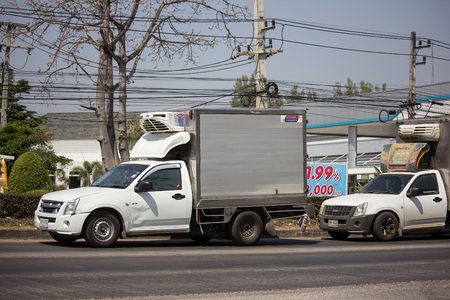 Chiangmai, Thailand - March 1 2019:  Private  Pickup Truck with Cold Container.  On road no.1001 8 km from Chiangmai city.