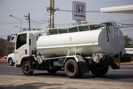 Chiangmai, Thailand - March 4 2019: Private of Sewage Tank  truck. Photo at road no.121 about 8 km from downtown Chiangmai, thailand. Redactioneel