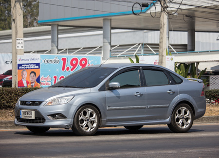 Chiangmai, Thailand - March 4 2019: Private car, Ford Focus. Photo at road no 121 about 8 km from downtown Chiangmai, thailand.