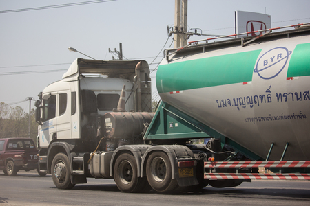 Chiangmai, Thailand - March 4 2019: Cement truck of Boon Yarit company.  On road no.1001, 8 km from Chiangmai city.