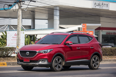 Chiangmai, Thailand - March 4 2019: Private Suv Car MG ZS. Product from British automotive. On road no.1001, 8 km from Chiangmai city.