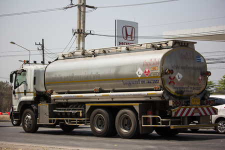 Chiangmai, Thailand - March 8 2019: Private Oil Truck. On Truck on road no.1001, 8 km from Chiangmai city. Editöryel