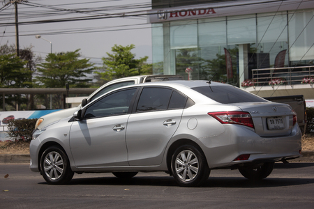 Chiangmai, Thailand - March 8 2019: Private Sedan car Toyota Vios. On road no.1001 8 km from Chiangmai Business Area.