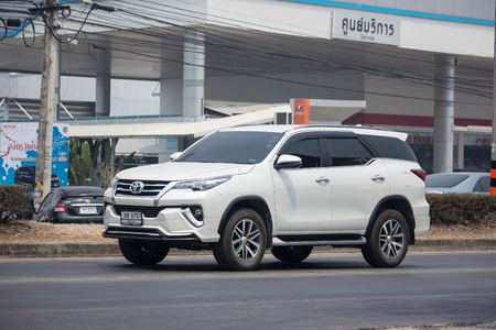 Chiangmai, Thailand - April 4 2019: Private  Toyota Fortuner Suv Car. On road no.1001 8 km from Chiangmai city.
