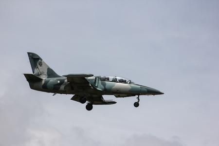 Chiangmai, Thailand - Auguest  22 2012: 41133 L-39 Albatros of Royal Thai Air force. Landing to Chiangmai Airport. Editöryel