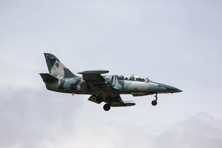 Chiangmai, Thailand - Auguest  22 2012: 41121 L-39 Albatros of Royal Thai Air force. Landing to Chiangmai Airport.