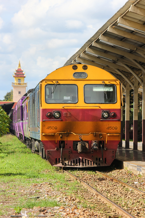 Chiangmai, Thailand - Auguest  29 2012:  Old Dlesel Hitachi locomotive no.4509 at chiangmai railway station, thailand.