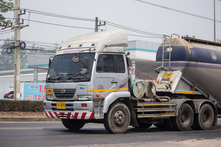 Chiangmai, Thailand - April 4 2019: Cement Truck of Lampang Niphon company.  On road no.1001, 8 km from Chiangmai city.