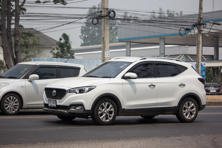 Chiangmai, Thailand - April 4 2019: Private Suv Car MG ZS. Product from British automotive. On road no.1001, 8 km from Chiangmai city.