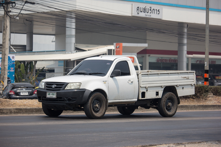 Chiangmai, Thailand - April 4 2019:  Private Tata Xenon  Pickup truck. Photo at road no 121 about 8 km from downtown Chiangmai, thailand.