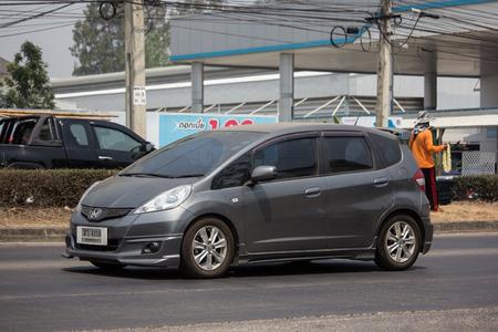 Chiangmai, Thailand - April 9 2019: Private city Car Honda Jazz. Five door hatchback automobile. Photo at road no.121 about 8 km from downtown Chiangmai thailand.
