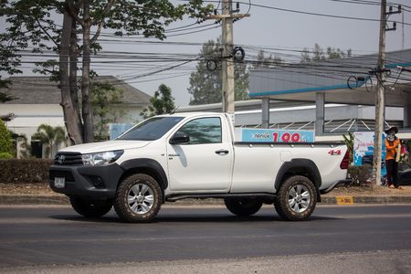 Chiangmai, Thailand - April 9 2019: Private Pickup Truck Car Toyota Hilux Revo. On road no.1001, 8 km from Chiangmai city.