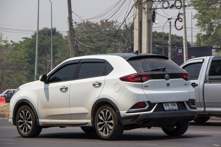 Chiangmai, Thailand - April 9 2019:  Private Suv Car MG ZS. Product from British automotive. On road no.1001, 8 km from Chiangmai city. Sajtókép