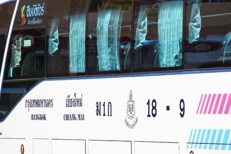 Chiangmai, Thailand - September 18 2012: Bus of Sombattour company. Photo at Chiangmai bus station, thailand.