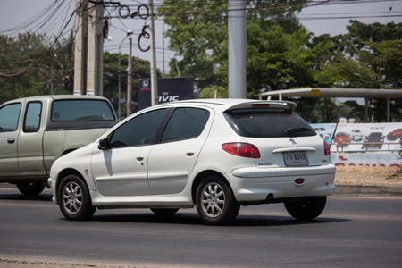 Chiangmai, Thailand - April 18 2019: Private car, Peugeot 206. Photo at road no.121 about 8 km from downtown Chiangmai, thailand.