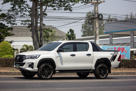 Chiangmai, Thailand - April 18 2019: Private Pickup Truck Car Toyota Hilux Revo. On road no.1001, 8 km from Chiangmai city.