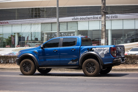 Chiangmai, Thailand - April 18 2019: Private Pickup car, Ford Ranger Raptor. On road no.1001, 8 km from Chiangmai city.