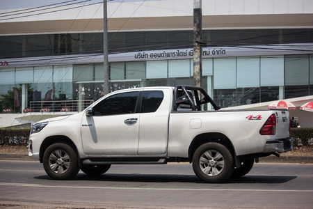 Chiangmai, Thailand - April 26 2019: Private Pickup Truck Car Toyota Hilux Revo. On road no.1001, 8 km from Chiangmai city.