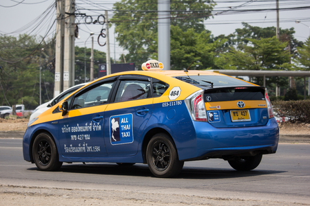 Chiangmai, Thailand - April 30 2019: City taxi Meter chiangmai,  Toyota Prius, Service in city. Call by Mobile Application.