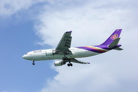 Chiangmai, Thailand - October 2 2012:  HS-TAZ Airbus A300-600 of Thaiairway. Landing to Chiangmai airport from Bangkok Suvarnabhumi.