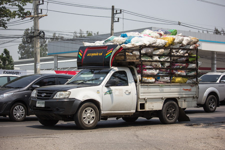 Chiangmai, Thailand - April 30 2019: Private Tata Xenon  Pickup truck. Photo at road no 121 about 8 km from downtown Chiangmai, thailand.
