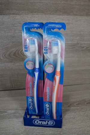 Chiangmai, Thailand - May 13 2019: Product shot of Oral B toothbrush.  Product by Colgate PalmOlive  Thailand Company.