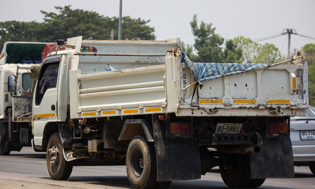 Chiangmai, Thailand - April 30 2019: Private Isuzu Dump Truck. On road no.1001 8 km from Chiangmai Business Area.
