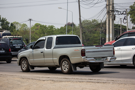 Chiangmai, Thailand - April 30 2019: Private Toyota Hilux Tiger Pickup Truck.  On road no.1001 8 km from Chiangmai city.